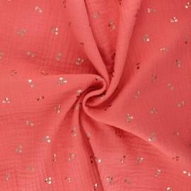Double cotton gauze fabric - coral pink Cerise dorée x 10cm