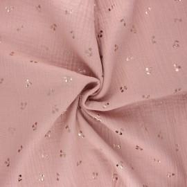Double cotton gauze fabric - old pink Cerise dorée x 10cm