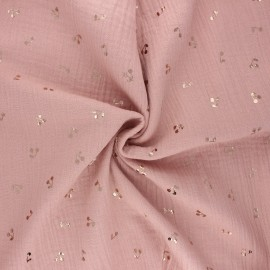 Tissu double gaze de coton Cerise dorée - vieux rose x 10cm