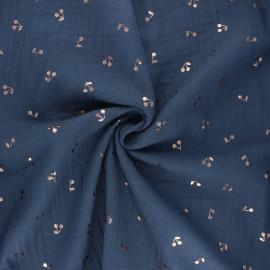 Tissu double gaze de coton Cerise dorée - bleu houle x 10cm