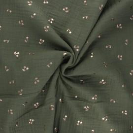 Tissu double gaze de coton Cerise dorée - kaki x 10cm