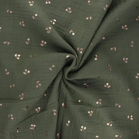 Double cotton gauze fabric - khaki green Cerise dorée x 10cm