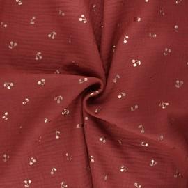 Double cotton gauze fabric - red brick Cerise dorée x 10cm
