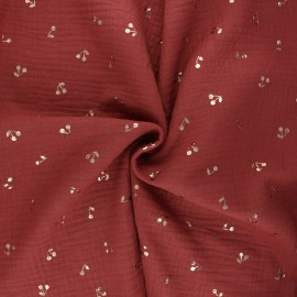 Tissu double gaze de coton Cerise dorée - tomette x 10cm