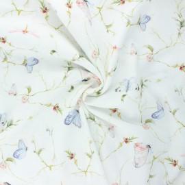 Double cotton gauze fabric - white Sweet butterflies x 10cm