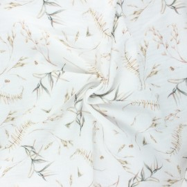 Double cotton gauze fabric - white Wild leaves x 10cm