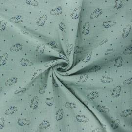 Double gauze fabric - eucalyptus Little hippo x 10cm