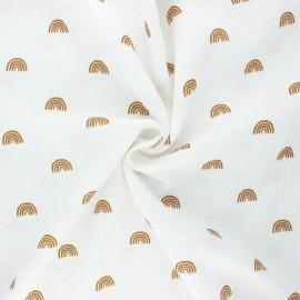 Tissu double gaze de coton Poppy Rainbows - écru x 10cm