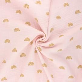 Tissu double gaze de coton Poppy Rainbows - rose clair x 10cm