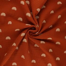 Poppy double gauze fabric - rust Rainbows x 10cm
