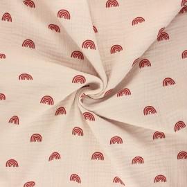 Poppy double gauze fabric - sand Rainbows x 10cm