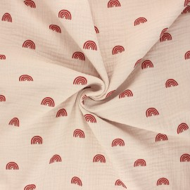 Tissu double gaze de coton Poppy Rainbows - sable x 10cm