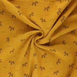 Tissu double gaze de coton Poppy Zebra - jaune moutarde x 10cm