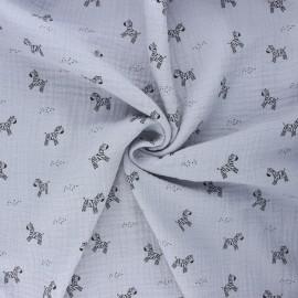 Tissu double gaze de coton Poppy Zebra - gris clair x 10cm