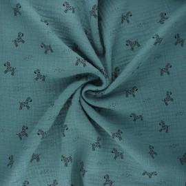 Tissu double gaze de coton Poppy Zebra - eucalyptus x 10cm