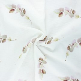 Double cotton gauze fabric - white Eucalypteae x 10cm