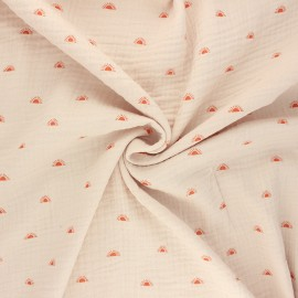 Tissu double gaze de coton Poppy Sunshine - sable x 10cm