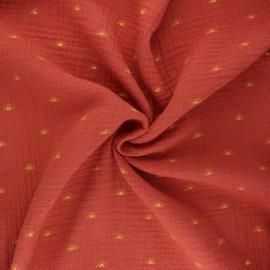 Tissu double gaze de coton Poppy Sunshine - terracotta x 10cm