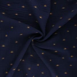 Tissu double gaze de coton Poppy Sunshine - bleu marine x 10cm