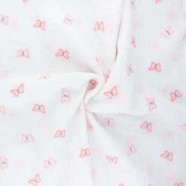 Embroidered double cotton gauze fabric - white Butterfly x 10cm