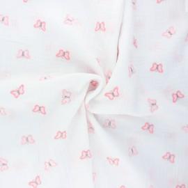 Tissu double gaze de coton brodé Butterfly - blanc x 10cm