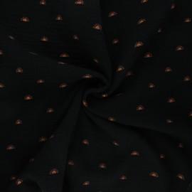 Poppy double gauze fabric - black Sunshine x 10cm