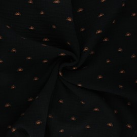 Tissu double gaze de coton Poppy Sunshine - noir x 10cm