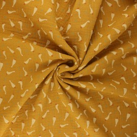Poppy double gauze fabric - ochre Baby goslings x 10cm