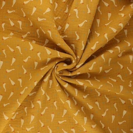 Poppy double gauze fabric - ochre Baby goslings x 10cm