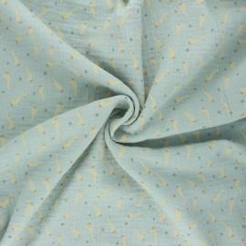 Poppy double gauze fabric - opaline green Baby goslings x 10cm