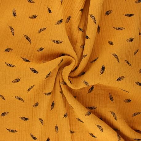Double cotton gauze fabric - honey yellow Plumes x 10cm