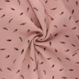 Double cotton gauze fabric - old pink Plumes x 10cm