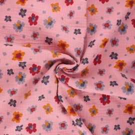 Poppy double gauze fabric - pink Flowers x 10cm