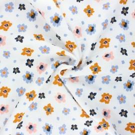 Poppy double gauze fabric - white Flowers x 10cm