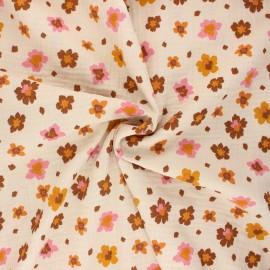 Tissu double gaze de coton Poppy Flowers - sable x 10cm
