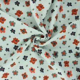 Poppy double gauze fabric - green opaline Flowers x 10cm