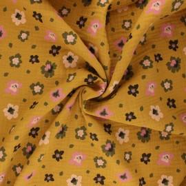 Poppy double gauze fabric - ochre Flowers x 10cm