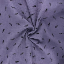 Double cotton gauze fabric - lavender Plumes x 10cm