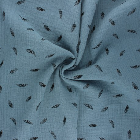 Double cotton gauze fabric - swell blue Plumes x 10cm