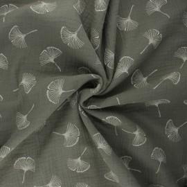 Double gauze fabric - khaki Ginkgo love x 10cm