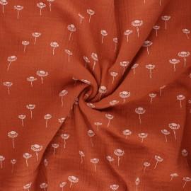 Double gauze fabric - rust Sunny daisy x 10cm