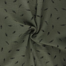 Double cotton gauze fabric - khaki green Plumes x 10cm