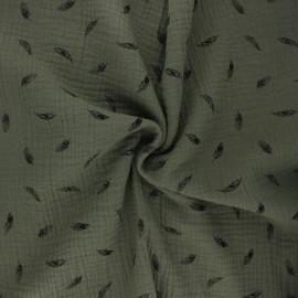 Tissu double gaze de coton Plumes - kaki x 10cm