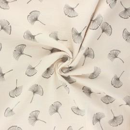 Double gauze fabric - greige Ginkgo love x 10cm