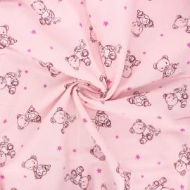 Tissu double gaze de coton Teddy bear - rose clair x 10cm