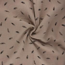 Tissu double gaze de coton Plumes - taupe x 10cm