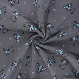 Tissu double gaze de coton Teddy bear - taupe x 10cm