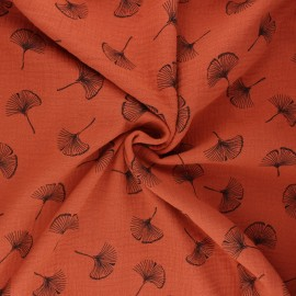 Double gauze fabric - rust Ginkgo love x 10cm