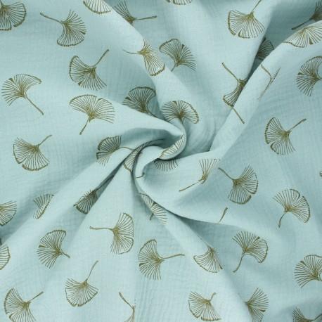 Double gauze fabric - opaline green Ginkgo love x 10cm