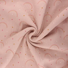 Double gauze fabric - rose water Arco iris x 10cm